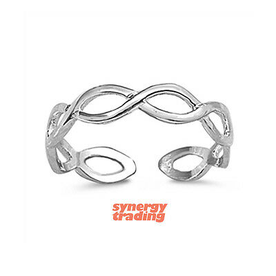 .925 Sterling Silver Classic Braided Band Adjustable Toe Ring NEW