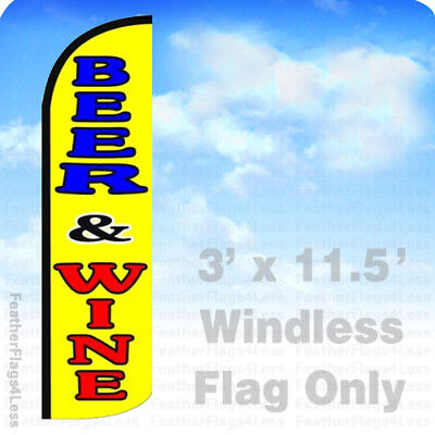 Beer Wine - Windless Swooper Feather Flag 3x11.5 Banner Sign - Yq