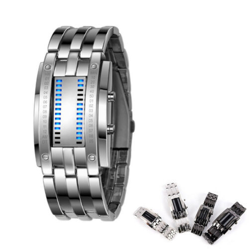 Luxury Stainless Steel Band LED Digital Watch Date Hour Bracelet Sport Watches H