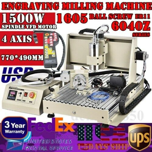 4 AXIS USB 1.5KW CNC 6040Z Router Engraving Wood Drill/Milling Machine+Handwheel