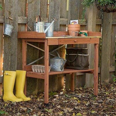 Outdoor Wood Potting Bench Garden Table Metal Top Durable Weather Resistant