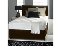 "DIVAN BED SET + LUXURY MEMORY FOAM 10"" DUAL MATTRESS + PLAIN HEADBOARD SIZE 3FT 4FT6 5FT KING"