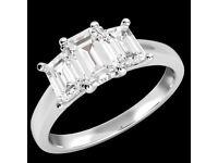 1.01 Carat Three stone round cut Diamond Solitaire Platinum Engagement Ring Certified