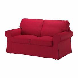 Ikea Ektorp 2 seater sofa covers in red.