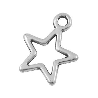 Packet 30 x Antique Silver Tibetan 15mm Star Charm/Pendant ZX08680
