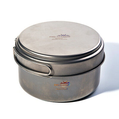AMG Titanium Camping Cookware Pot Ultralight Uncoated 1700m L Backpacking Hiking