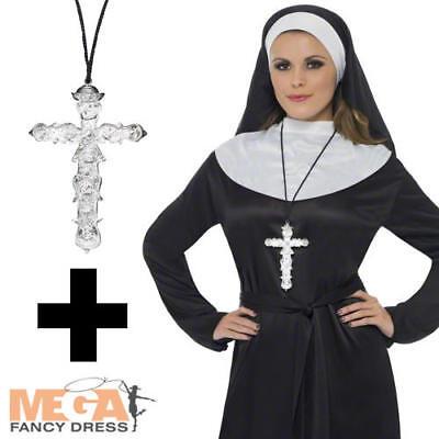 Nun + Cross Ladies Fancy Dress Hen Party Saints Sinners Halloween Womens (Saints Halloween Kostüme)