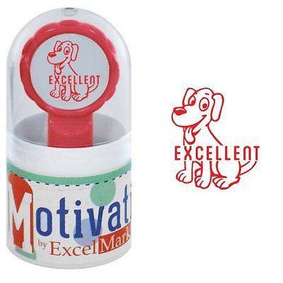New Excelmark Motivations Pre Inked Teacher Stamp Excellent Dog Red Ink
