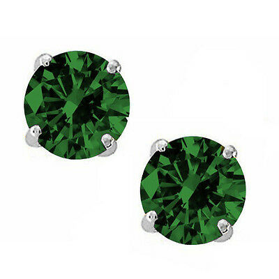 Round Cut Cubic Zirconia CZ Emerald Sterling Silver May Basket Studs Earrings