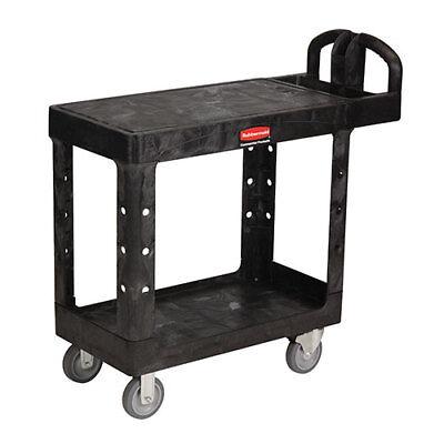 Rubbermaid Flat Shelf Kitchen Utility Cart Plastic 43-78wx25-58d Black