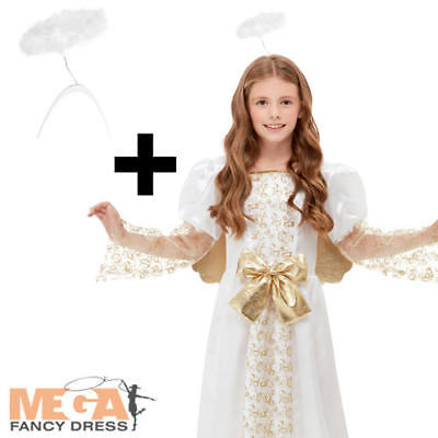 Golden Angel + Halo + Wings Girls Fancy Dress Christmas Nativity Kids Costume