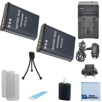2 EN-EL23 Battery + Home / Car Charger for Nikon COOLPIX P600 P610 P900 S810c