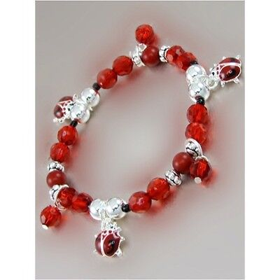 Childrens Red and Silver Beaded Stretch Bracelet W Ladybug Charms