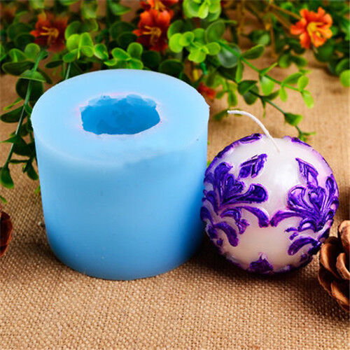 3D Ball Shape Silicone Candle Mold with Classic Relief for Handmade Soap Mould