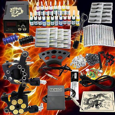 Kit completi per tatuaggi Macchinetta Tatuaggi set 2 Tattoo gun 20 Inchiostro IT