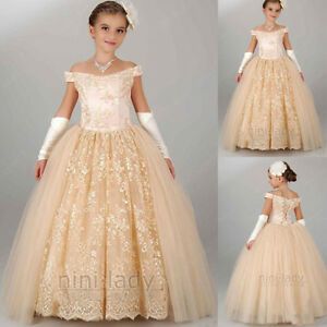 2016 neuf robe de communion princesse fille mariage robe demoiselle d honneur ebay. Black Bedroom Furniture Sets. Home Design Ideas