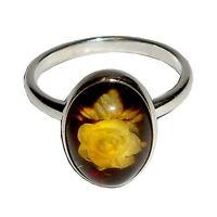 Rose carved AMBER silver ring REWARD