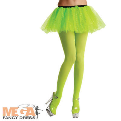 Neon Green Tights Ladies Fancy Dress 1980s Disco Dance Adults Costume Accessory