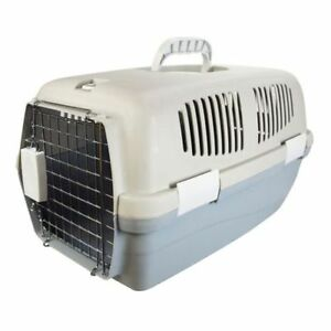 SMALL PET CARRIER TRAVEL BASKET CRATE CARRY HANDLE & DOOR CAT DOG RABBIT PLASTIC