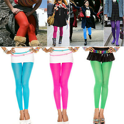 1-4PC Womens Solid Color Opaque Capri 7 Colors Costume Cosplay Footless Tights - Tights Costume