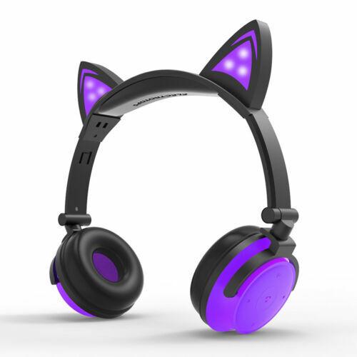 For kids Cat Ear Bluetooth Headphones Audio Wireless LED Mic