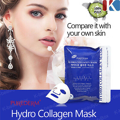 PUREDERM Hydro Collagen Mask 1 pack (25 sheets), Anti-Aging Facial Mask Sheet