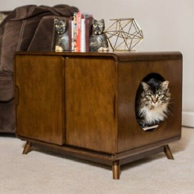 - Cat Litter Box Wood Modern Two Sliding Doors Walnut Finish Pet Kitty Furniture