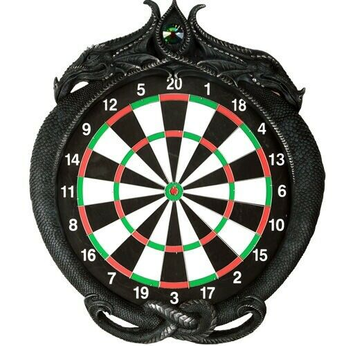 Medieval Gothic Dungeon Crystal Dual Dragon Dart Board Wall Game Room Plaque