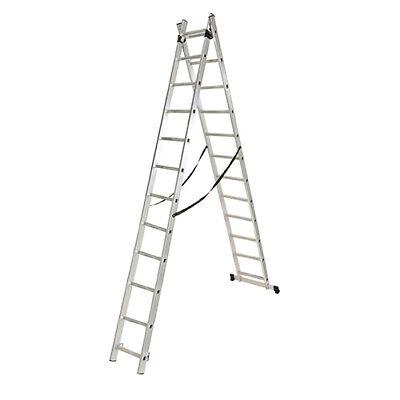 Escalera profesional multiusos doble y extensible 2 x 13 peldaños de aluminio