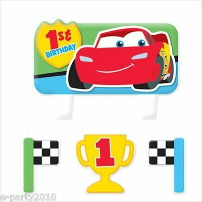 CARS 1st BIRTHDAY MINI CANDLE SET (4pc) ~ First Party Supplies Decoration Disney