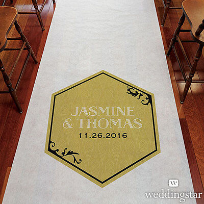 Black And Gold Opulence PERSONALIZED Aisle Runner Wedding Ceremony Decoration  - Personalized Wedding Aisle Runner