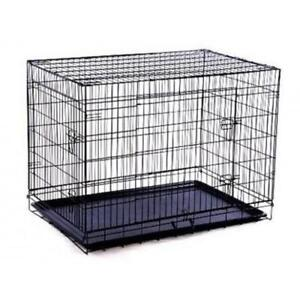 "SALE @ WWW.BETEL.CA || 2-Door 42"" Large Folding Portable Dog Crate w/ Pan 