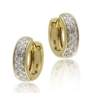 18k Gold on Silver Diamond Accent Huggie Hoop Earrings