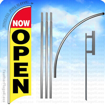 Now Open - Windless Swooper Feather Flag 15 Kit Banner Sign - Yb