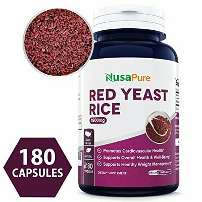 BEST Red Yeast Rice 1800mg 180 Capsules (NON-GMO, Gluten Free & Citrinin Free)