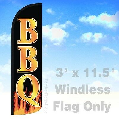 Bbq Windless Swooper Feather Flag 3x11.5 Banner Sign - Kq