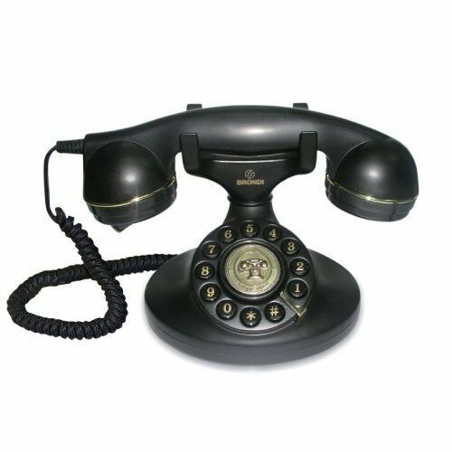 Phone Fixed Brondi Vintage Analog With Cable Decoration Design Antique Black