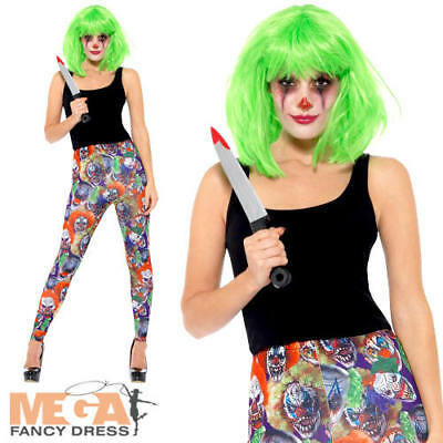 Creepy Clown Leggings Ladies Fancy Dress Halloween Circus Adults Costume Acc New - Creepy Carnival Costumes