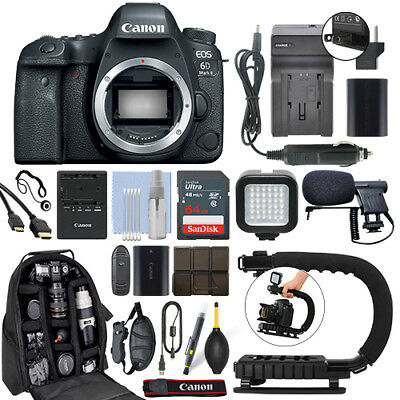 Canon EOS 6D Mark II 26.2MP Digital SLR Camera Body + 64GB Pro Video Kit for sale  Shipping to India