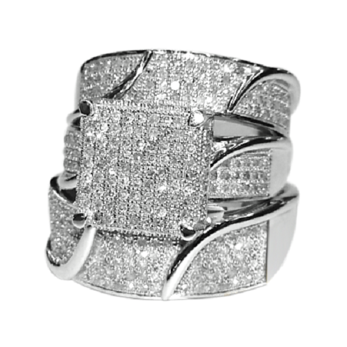 Diamond Wedding Band 14K White Gold Fn Trio His Her Engageme