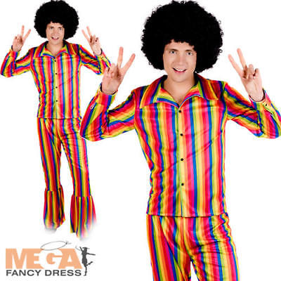 70s Rainbow Suit Mens Disco Fever Fancy Dress Groovy Retro Adults Costume Outfit ()