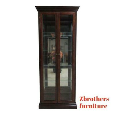 (Vintage Pulaski Mahogany China Cabinet Curio Crystal Display Unit Hutch B)