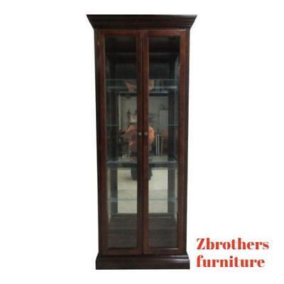 (Vintage Pulaski Mahogany China Cabinet Curio Crystal Display Unit Hutch B)