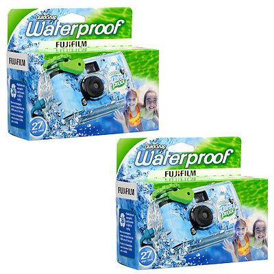 2x Fuji QuickSnap Waterproof Disposable Camera 27 exp. (ISO 800) FRESH DATED