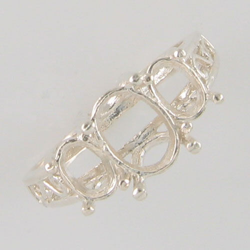 PRE-NOTCHED 3 STONE DESIGNER RING 8X6 & 6X4 OVAL SIDES IN .925 SILVER CR29SS