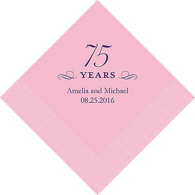 100 Personalized 75th Birthday Cocktail Napkins