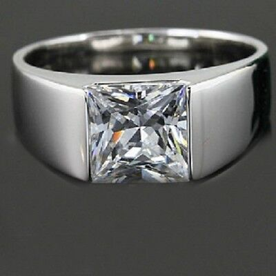 2Ct Off White Princess Moissanite Solitaire Engagement Ring 925 Sterling Silver