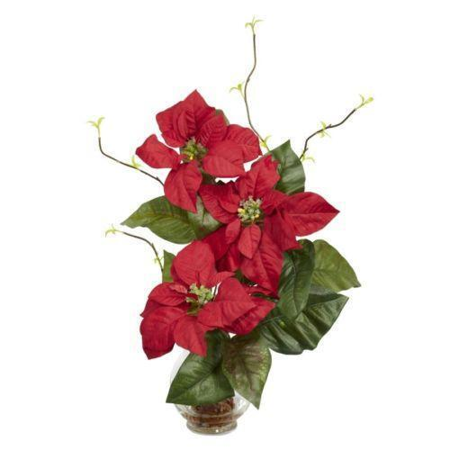 Christmas flower arrangements ebay for Poinsettia arrangements