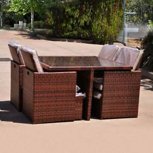 Rattan Outdoor Dining Table & Chairs Furniture Set 9pc With Cover Bayswater Knox Area Preview