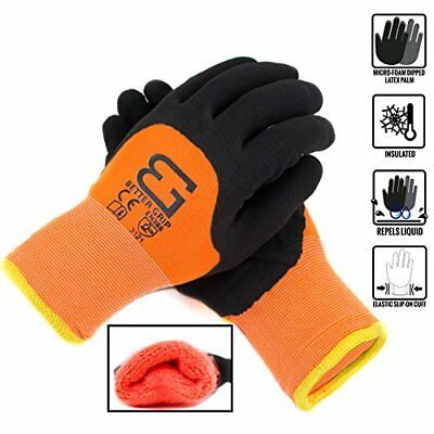 Safety Winter Insulated Double Lining Rubber 34coated Work Gloves -bgwans34-or